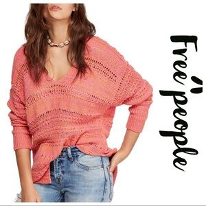 Free people hot tropics pullover in pink